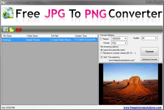 Free Picture Solutions - Free JPG to PNG Converter Download